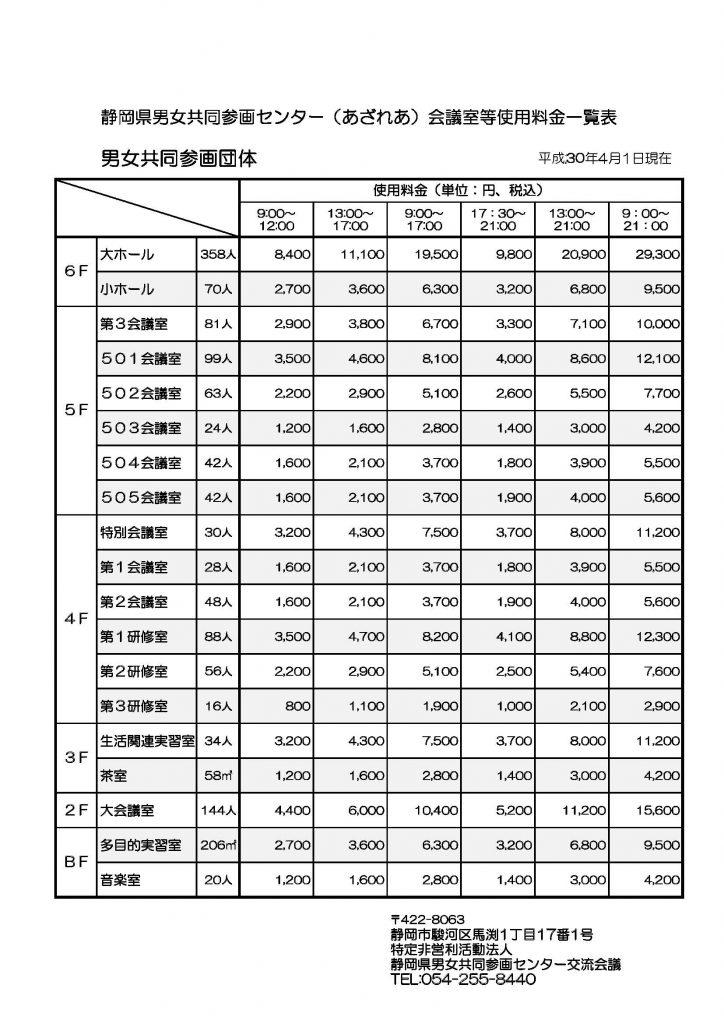 利用料金一覧(男女共同参画団体)
